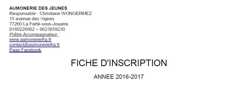 Inscription Aumônerie 2016-2017