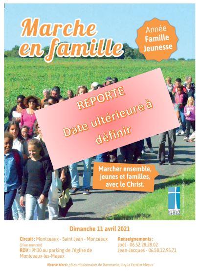 Dernière minute ! REPORT de la Marche en famille du Vicariat Nord prévue le 11 avril 2021